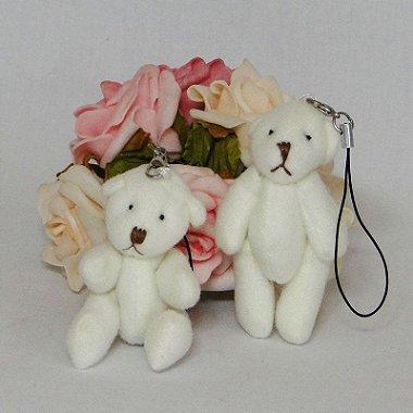 10 Chaveiros Lembrancinhas Mini Ursinhos De Pelúcia - 7cm Creme