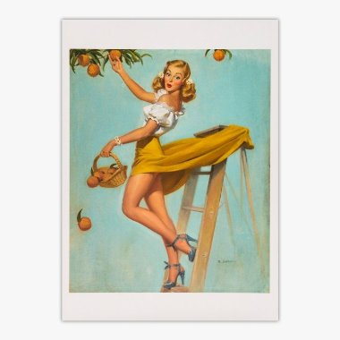 Cartão Postal Pin - Up - Picking Peaches - Robert Skemp