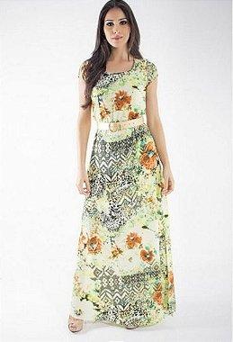 50639 - Vestido Longo Estampado - Via Tolentino Verde