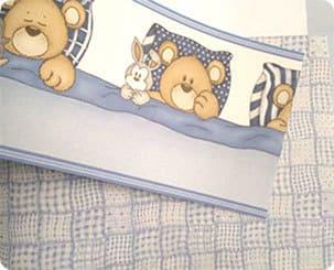 Faixa de parede quadriculado azul bambinos bobinex