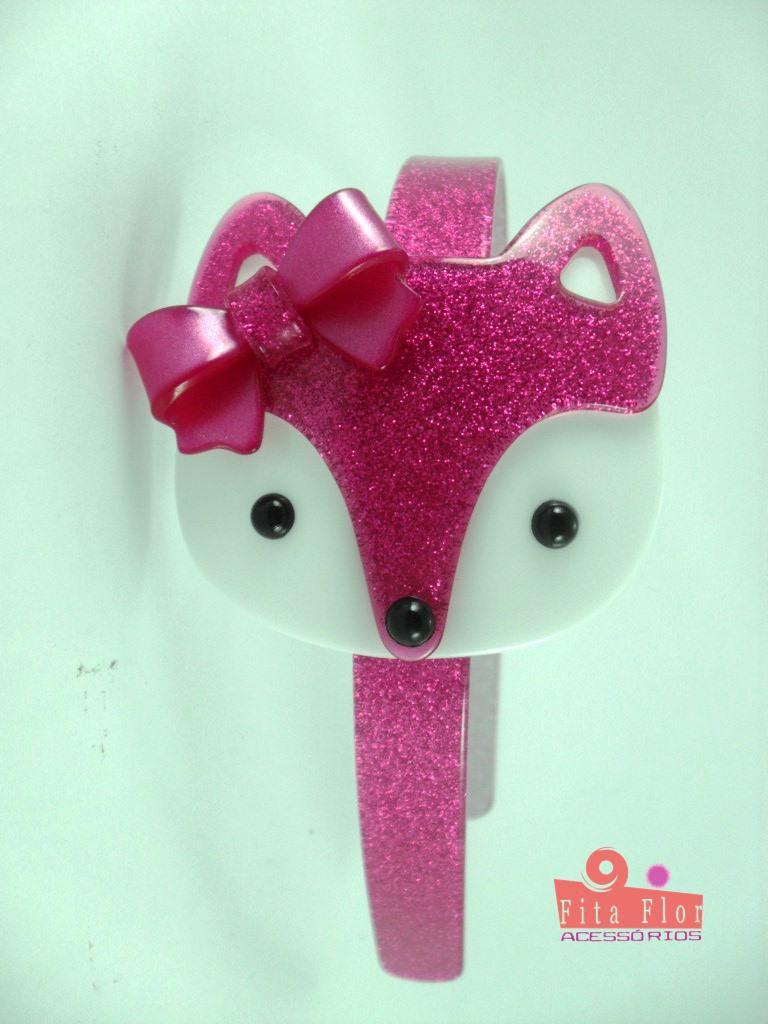 8af9d67d57 ... Tiara (Arco) Coleção Bichinhos Fita Flor Acessórios. Pink Acetinado com  Glitter (Raposinha ...