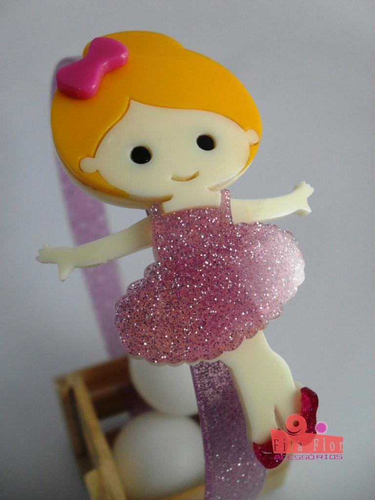 3fa7c05ecd ... Tiara (Arco) Coleção Lúdica Fita Flor Acessórios. Bailarina Lilás com  Glitter - Imagem ...