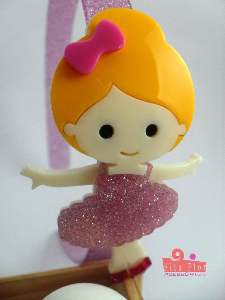 ded0c7978c ... Tiara (Arco) Coleção Lúdica Fita Flor Acessórios. Bailarina Lilás com  Glitter - Imagem