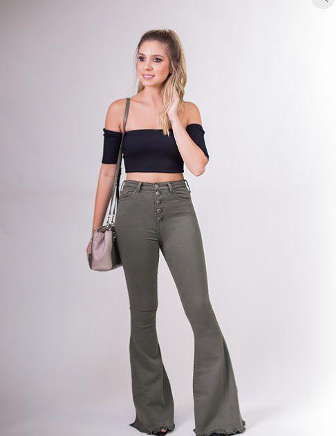 c708111ed Calça Jeans Flare Verde Militar - Bella Donna Boutique RC