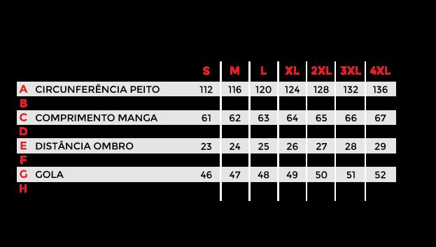 Tabela de Medidas Jaqueta Masculina