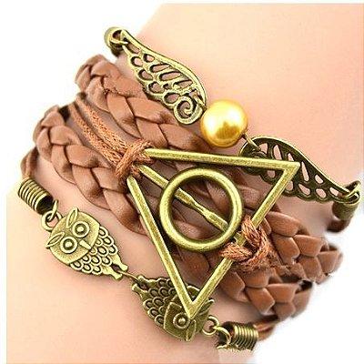 Pulseira Harry Potter - pomo de ouro, corujas e relíquia (marrom/ bronze antigo)