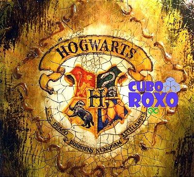 Harry Potter - Quadro trabalhado com brasão de Hogwarts