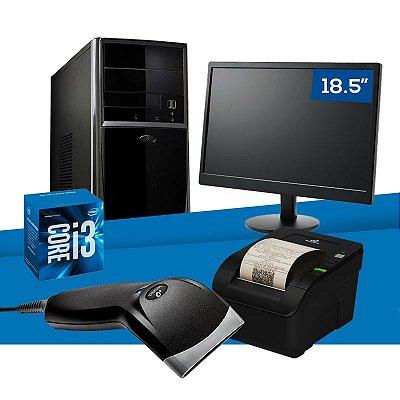 """Kit PC Empresarial NTC Intel i3 + Monitor 18.5"""" + Leitor Código de Barras + Impressora Não Fiscal"""