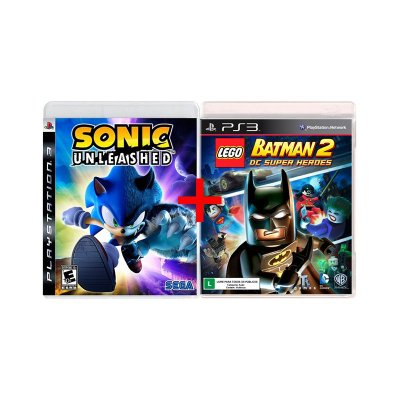 Jogos Sonic Unleashed + Lego Batman 2: DC Superheroes - PS3