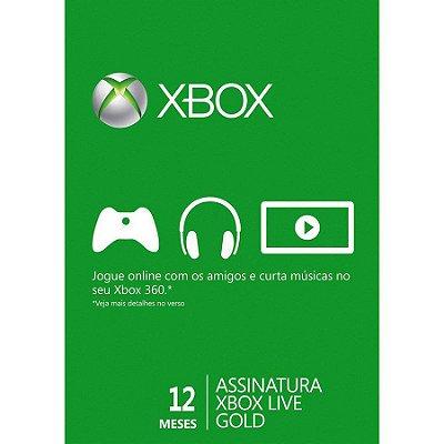 Cartão Xbox Live Microsoft Gold 12 meses (Nacional)