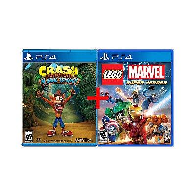 Jogos Crash Bandicoot N. Sane Trilogy + Lego Marvel Super Heroes - PS4