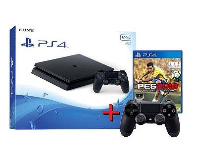 Playstation 4 Slim 500 GB + Controle Adicional + PES 18