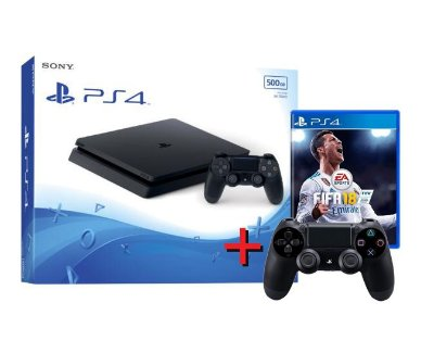 Playstation 4 Slim 500GB + Controle Adicional + Fifa 18 - PS4