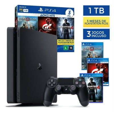 Console PlayStation 4 Slim 1TB + 3 Jogos + 3 Meses Plus - Sony