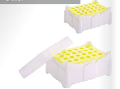 Rack MCT Freezer colour change em PP 24 places abdos P11106 para tubos até 2 ml - muda de cor em temperaturas baixas