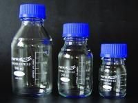 Frascos de laboratório, redondo, com tampa roscada GL 45 -  de vidro borossilicato 3.3, tampa roscada de PP
