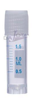 microtubo em polipropileno para congelamento (cryo vial) de 1,8 ml com fundo chato, autosustentavel, tampa de rosca , esteril,graduado, pacote de 20 pcs, marca abdos