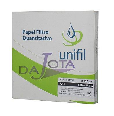 Papel Filtro Quantitativo 185mm, Faixa Preta 100 Folhas - UNIFIL Cód.: 504.118
