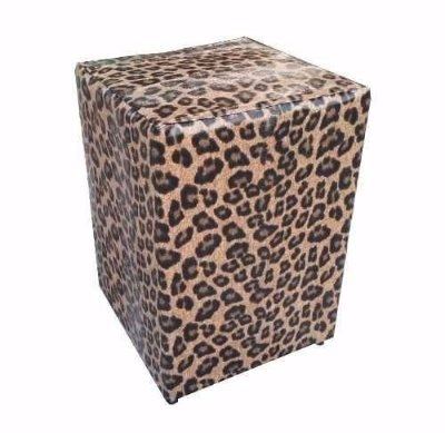 Puff Pufes Pufs Quadrado 34x34 Courino Animal Print Onça