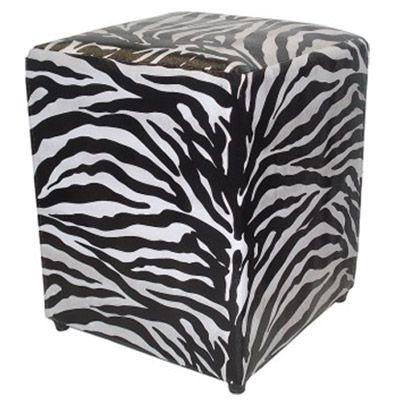 Puff Pufes Pufs Quadrado 34x34 Courino Animal Print Zebra