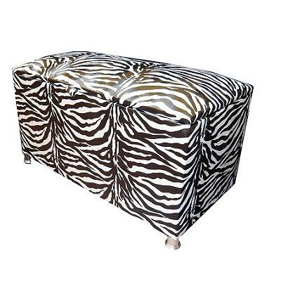 Puff Pufe Baú Retangular Courino Quarto Sala 88cm Animal Print Zebra