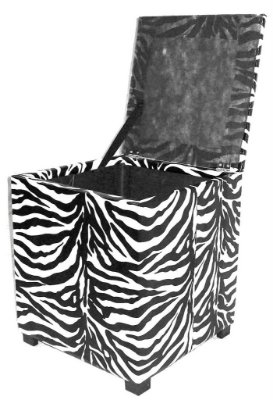 Puff Pufe Puf Baú Individual Quadrado 46x46cm Courino Quarto Sala Animal Print Zebra