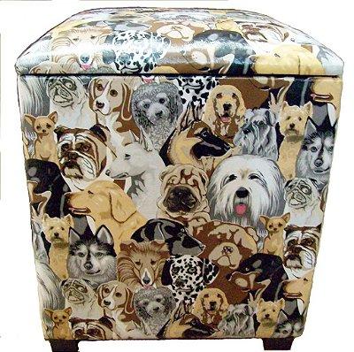 Puff Pufe Puf Baú Individual Quadrado 46x46cm Courino Quarto Sala Estampado Cachorros