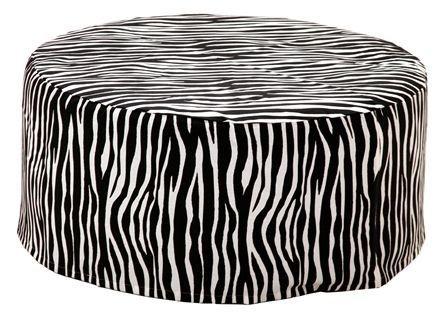 Puff Pufe Puf Redondo 75cm Diâmetro Courino Sala Quarto Animal Print Zebra