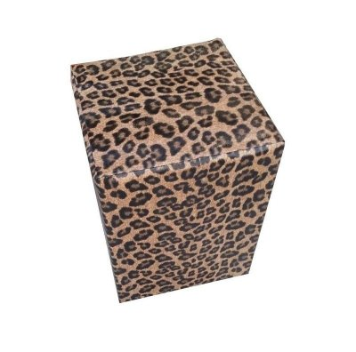 Puff Pufes Pufs Quadrado 44x44 Courino Animal Print Onça