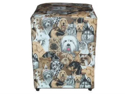Puff Pufes Pufs Quadrado 44x44 Courino Animal Print Cachorro
