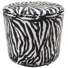Puff Pufe Puf Redondo 45cm Altura Courino Sala Quarto Animal Print Zebra