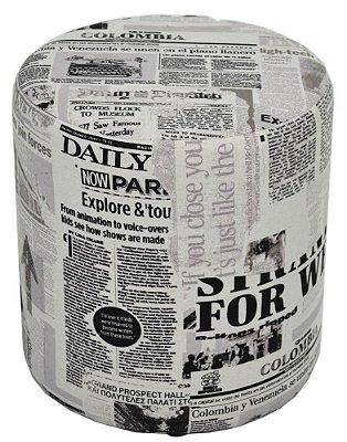 Puff Pufe Puf Redondo 45cm Altura Courino Sala Quarto Estampado Jornal