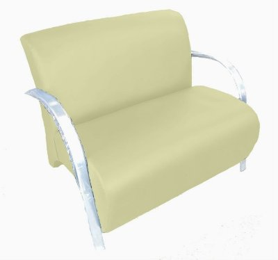 Poltrona Cadeira Decorativa Dois Lugares Suede Sala de Estar - Bege