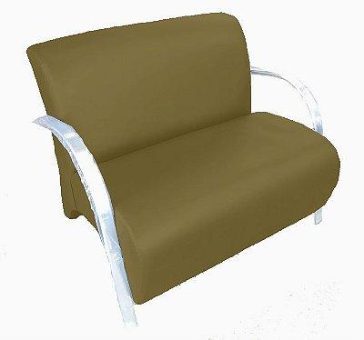 Poltrona Cadeira Decorativa Dois Lugares Suede Sala de Estar - Marrom