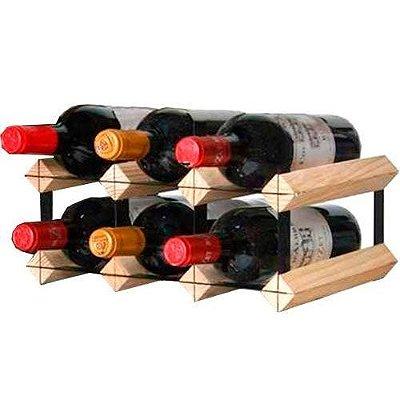 Rack Adega Suporte Para 6 Garrafas De Vinho Em Madeira E Aço