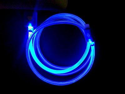 Cabo p/ IPhone 5G com Led Fixo - Azul Novo modelo CB5GLED