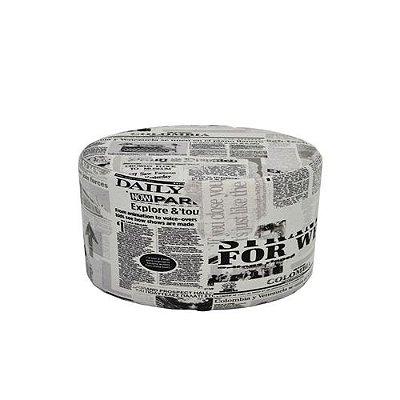 Puff Pufes Pufs Redondo 38cm Courino Estampado Jornal