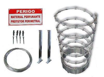 Kit Protetor Perimetral 30cm Inoxidável Cerca Concertina Ouriço 5 Metros