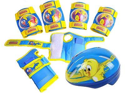 Kit de Segurança Capacete e Joelheiras Infantil Galinha Pintadinha 7854-0