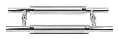 Puxador Duplo Inox Escovado 35cm Ø25mm Porta Madeira Vidro JMS -788