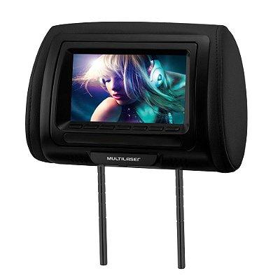 "Encosto Cabeça DVD Tela LCD 7"" Escravo Banco de Carro AU709 - Multilaser"