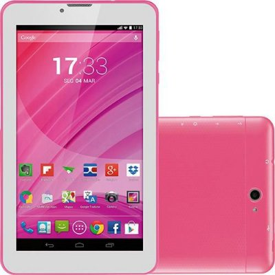 "Tablet Rosa 7"" 3g Wifi Celular Dual Chip Quad Core Nb225 - Multilaser"