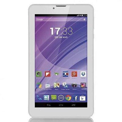 "Tablet Branco 7"" 3G Wifi Celular Dual Chip Quad Core NB224 - Multilaser"