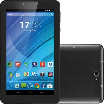 "Tablet Preto 7"" 3G Wi-Fi Celular Dual Chip Quad Core NB223 - Multilaser"