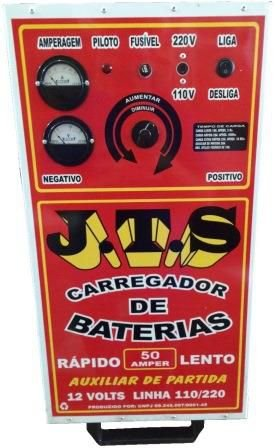 Carregador De Bateria 50a 6 a 12v Auxiliar De Partida 2 Relógios JTS002 - Jts