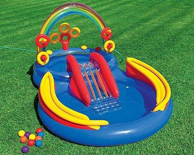 Piscina Playground Arco Iris 227L Infantil Praia 6552-0 - Intex