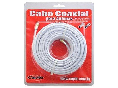 Kit Cabo Coaxial 20 Mts Rg6 67% Blindado + Conector - Capte