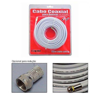 Kit Cabo Coaxial 10 Mts Rg6 67% Blindado + Conector - Capte
