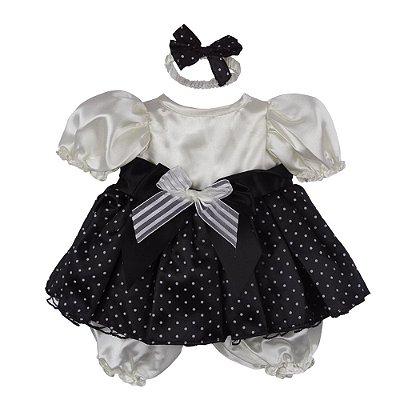 Roupa Laura Doll Bebê Realista Menina Poá