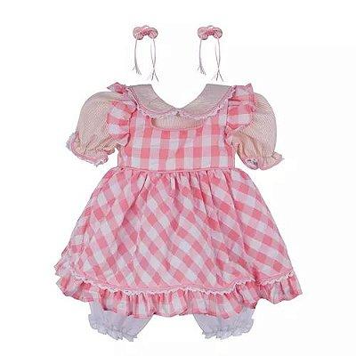Roupa Laura Doll Bebê Realista Menina Rosinha